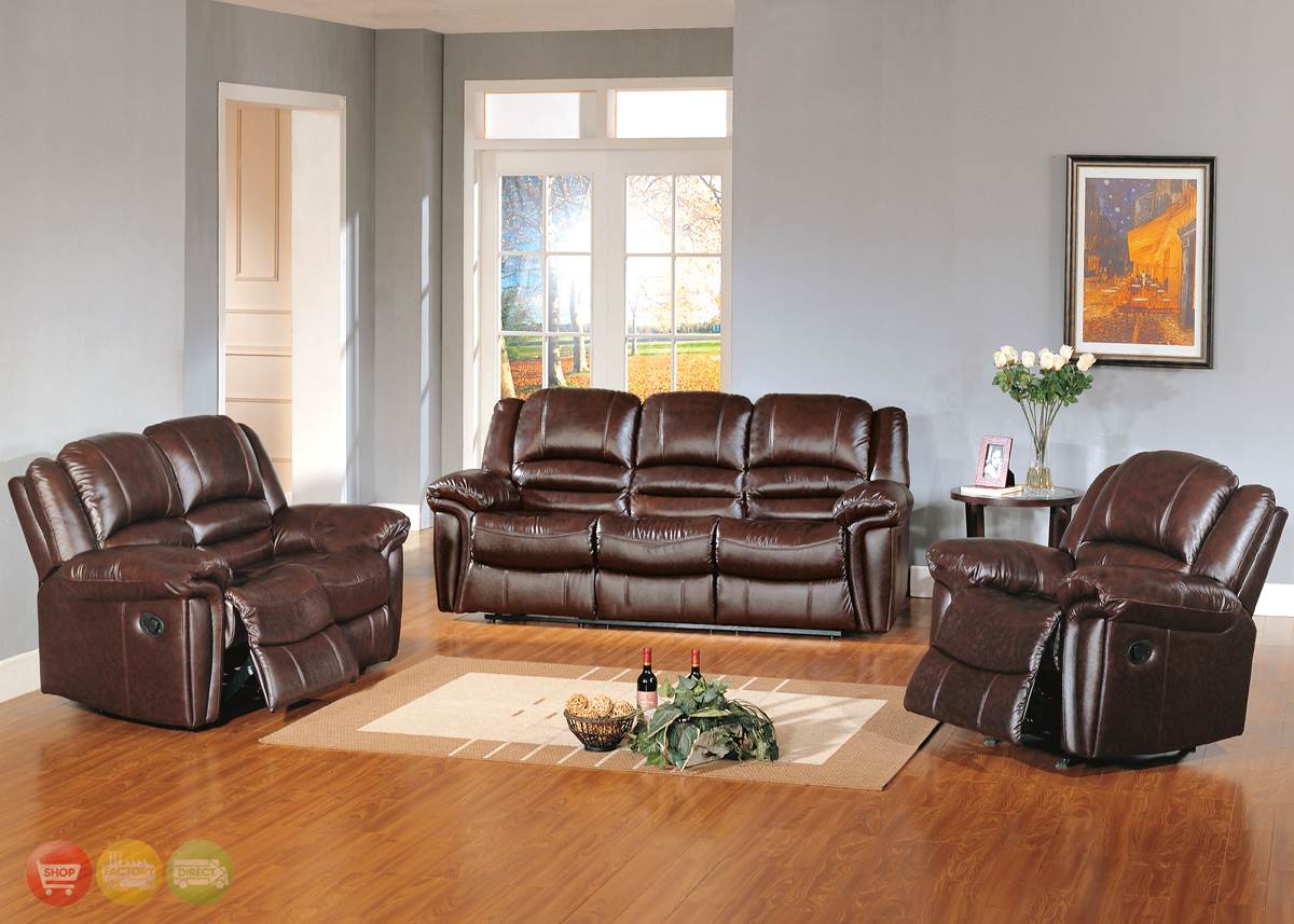 Leather Living Room Chair Sutton Brown Leather Reclining Sofa And Love Seat Living