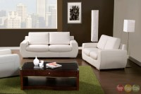 Tekir Contemporary White Living Room Set with Bonded ...