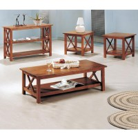 Three Piece Brown Cross Coffee Table & End Table Set 5907 ...