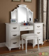 Torian White Vanity w/ Tri-Fold Mirror & Stool 3 Piece Set