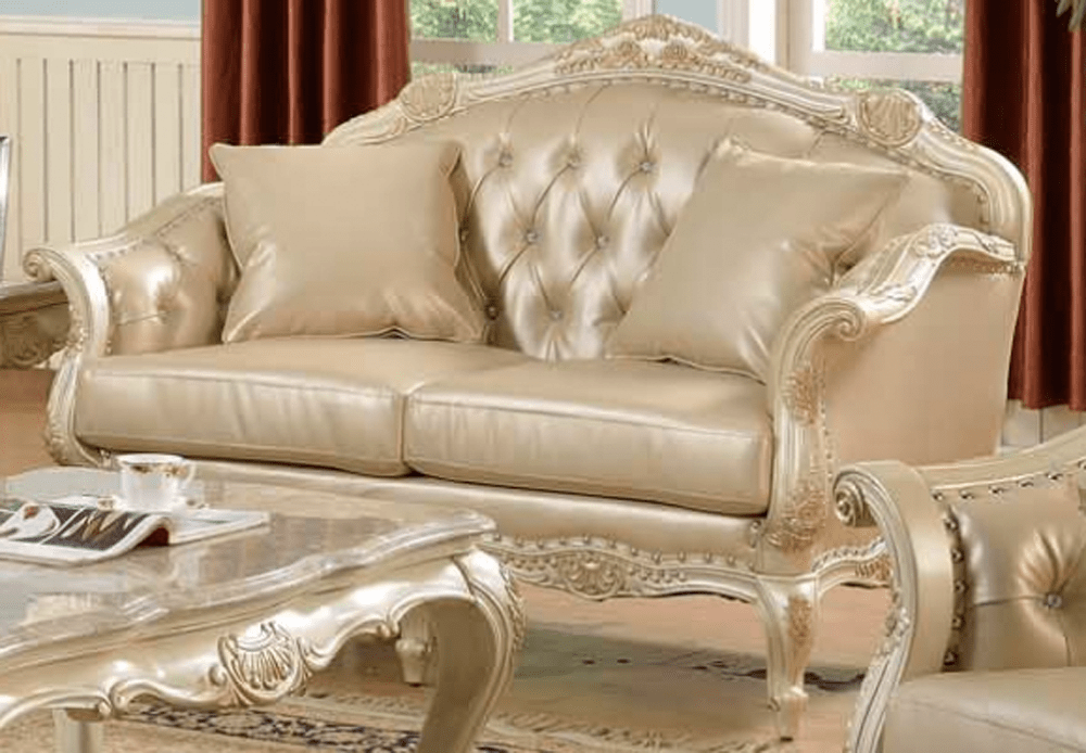 simmons bonded leather sofa bauhaus microfiber cleaning traditional antique white formal set w/nail head ...