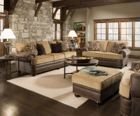 Traditional Beige Brown Living Room Sofa Set w/ Rolled
