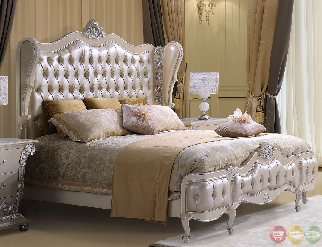 Classic Style Button Tufted Queen Size Metallic Bedroom