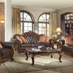 Tufted Leather Sofa With Rolled Arms How Much Does It Cost To Recover A Bed Traditional Dark Brown Button Living Room ...