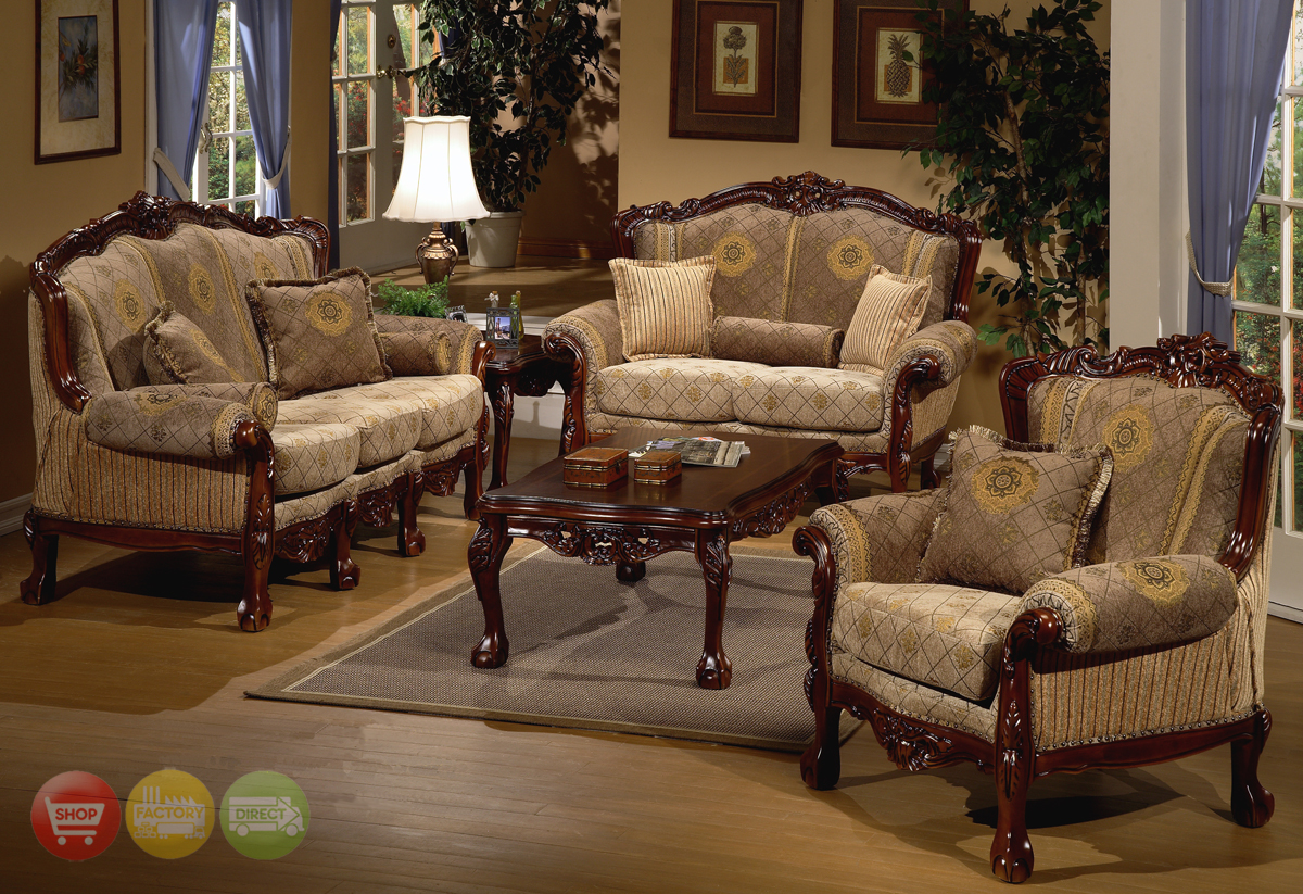 traditional sofa sets living room brown leather nailhead trim european design formal set w carved wood hd 94
