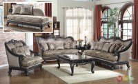 Traditional Formal Living Room Furniture Sofa Dark Wood