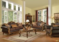Dorothea Traditional Formal Living Room Sofa Set w/ Wood ...