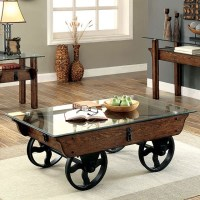 Tristin Rustic Glass Top Wooden Coffee Table with Black ...