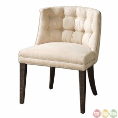 White Leather Slipper Chair Covers Chicago Trixie Contemporary Modern Tufted 23049