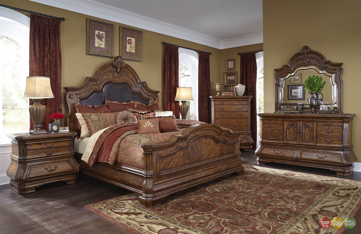 Michael Amini Tuscano Traditional Luxury Bedroom Set Melange Finish by AICO