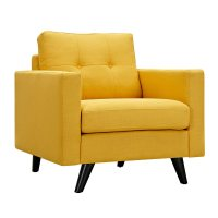 Uma Modern Yellow Fabric Button Tufted Armchair With Black ...