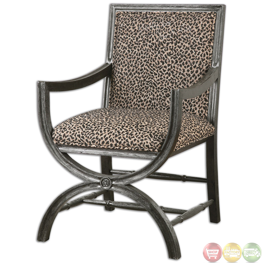 wood frame accent chairs zero g chair swing cyerra leopard print safari 23176