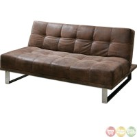 Delvin Brown Synthetic Leather Convertible Futon Sofa 23145