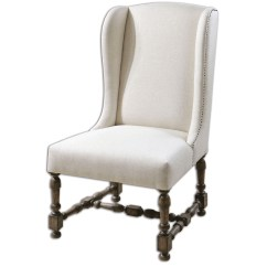 Traditional Wingback Chair Evenflo High 4 In 1 Diella Alabaster Linen Weathered Wood Frame