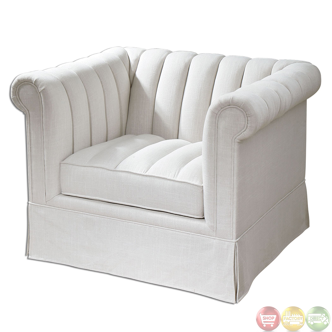 White Arm Chairs Evania Cream White Linen Upholstered Tufted Armchair 23155