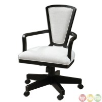 Exavier Sandy White Linen Wood Frame Modern Desk Chair 23151