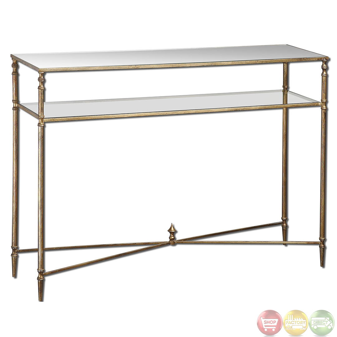 gold glass sofa table brown leather chesterfield uk henzler vintage style mirrored console 24278