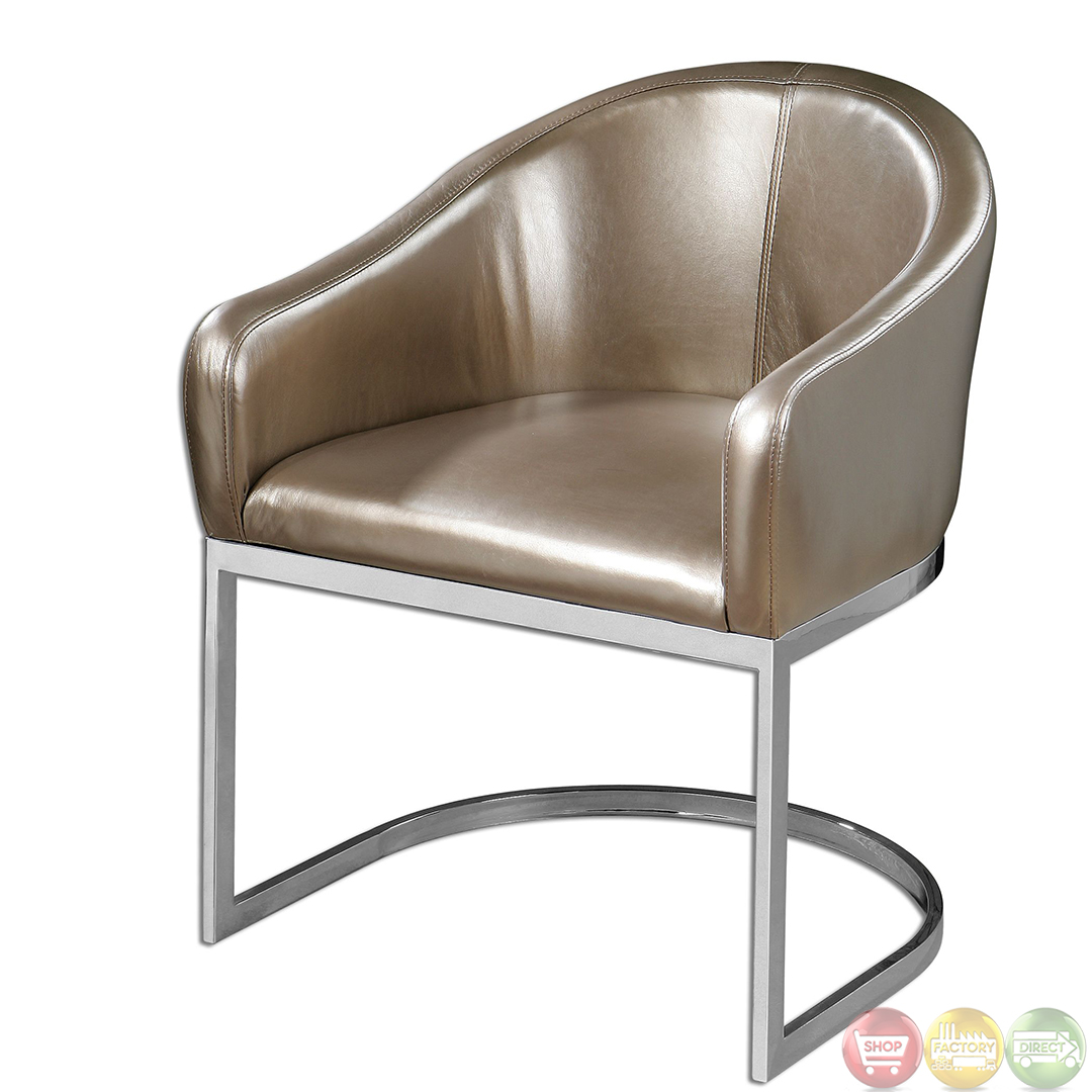 modern accent chairs swivel chair lounge marah metallic champagne faux leather 23148
