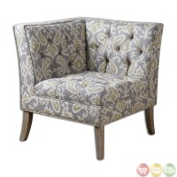 Meliso Gray Button Tufted Linen Corner Chair 23167