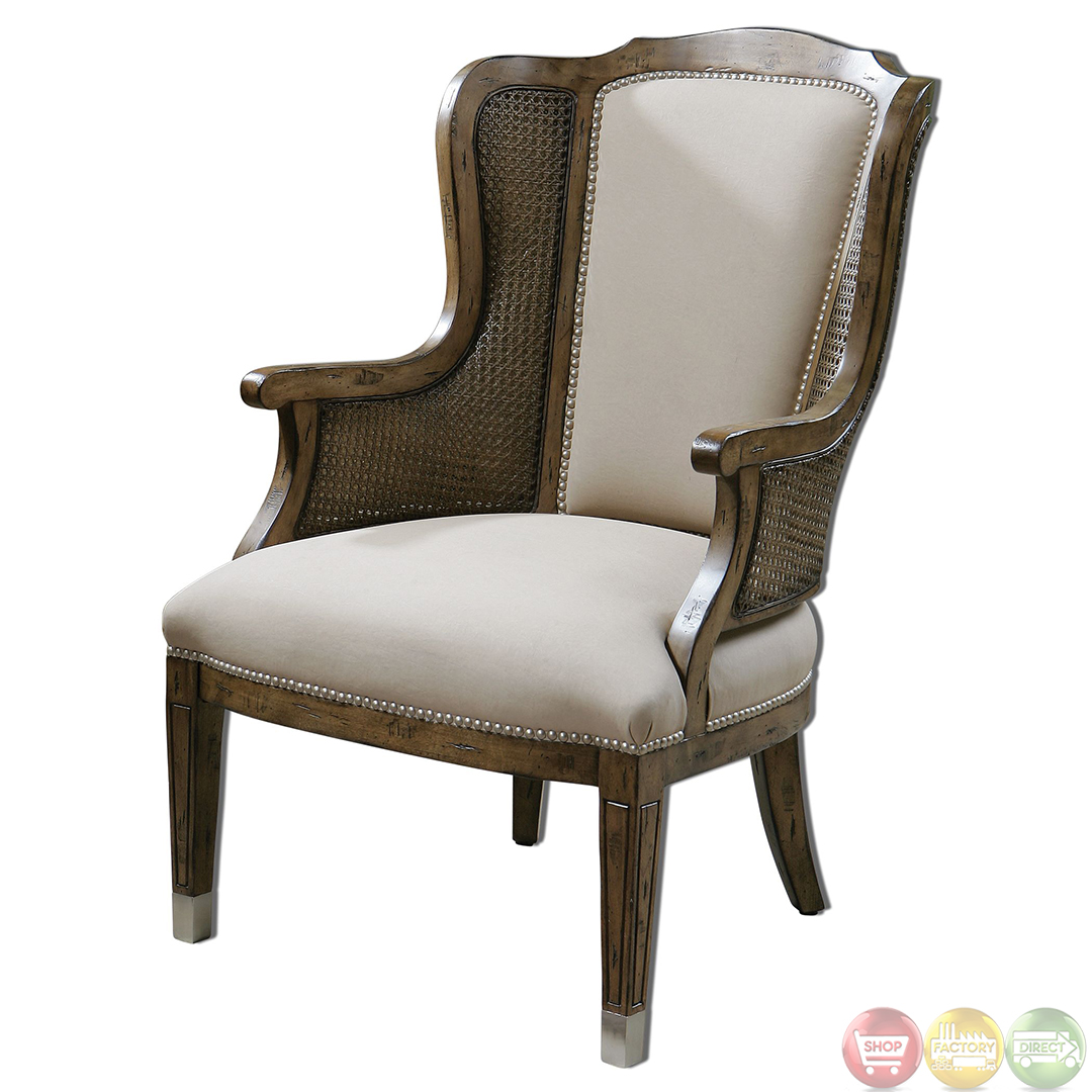 Wing Chair Nessa Pecan Finish Cane Side High Back Wing Accent Chair 23157