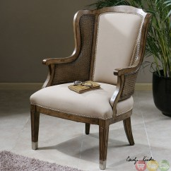 High Back Wing Chairs Ikea Cotton Chair Covers Nessa Pecan Finish Cane Side Accent 23157