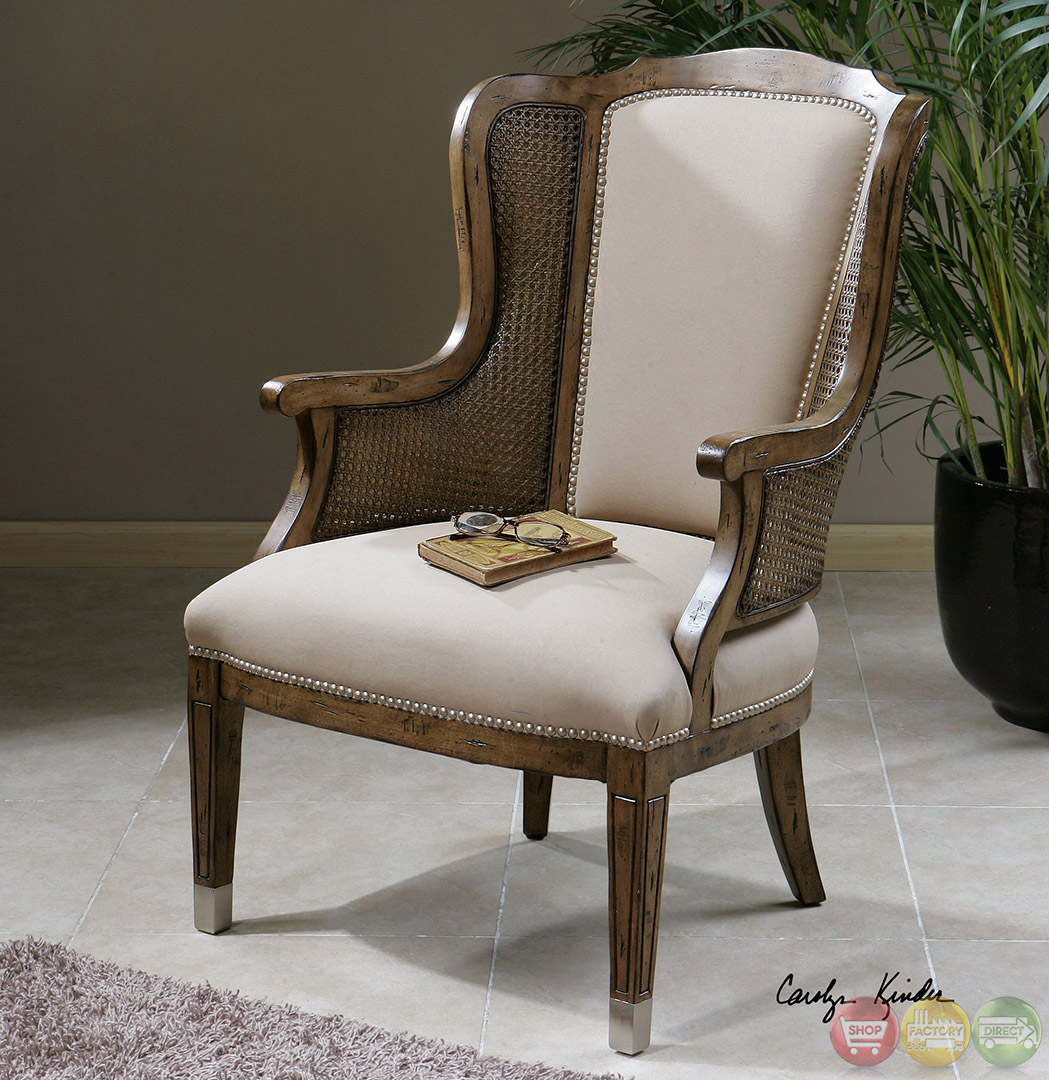 High Back Wing Chair Nessa Pecan Finish Cane Side High Back Wing Accent Chair 23157