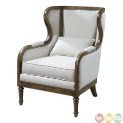 Traditional Wingback Chair Slipcover Dining Chairs Neylan Neutral Linen Exposed Wood Frame Wing 23159
