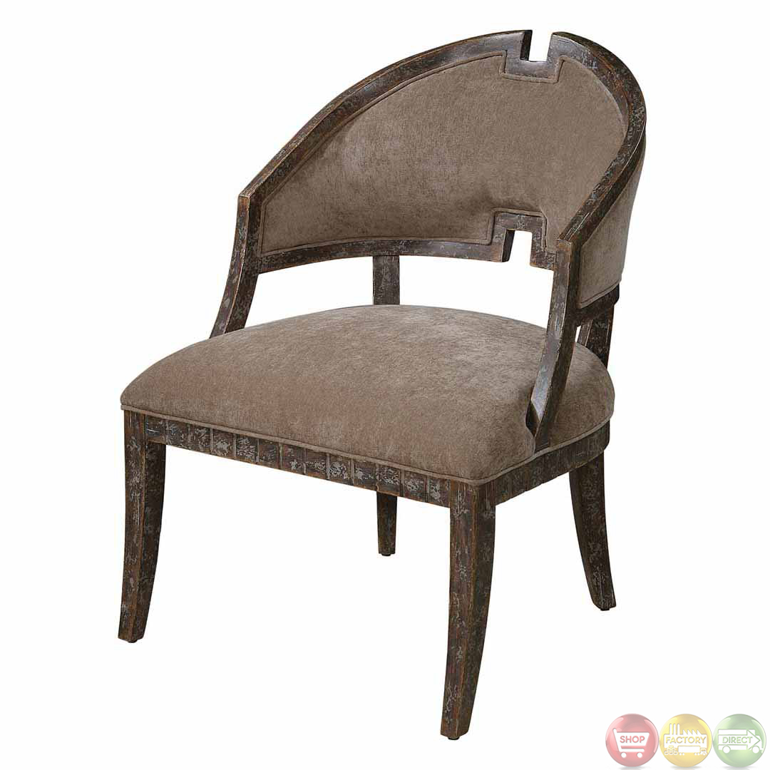 wood frame chair living room set onora brown velvet solid armless 23124