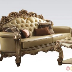 Gold Leather Sofa Set Dfs Electric Recliner Sofas Vendome Formal Crystal Tufted And Loveseat In