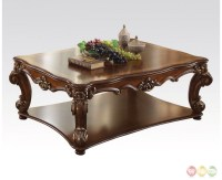 Vendome Traditional Wood Top Large Rectangular Coffee ...