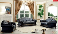 Versace Living Room Set | Black Leather Living Room Set