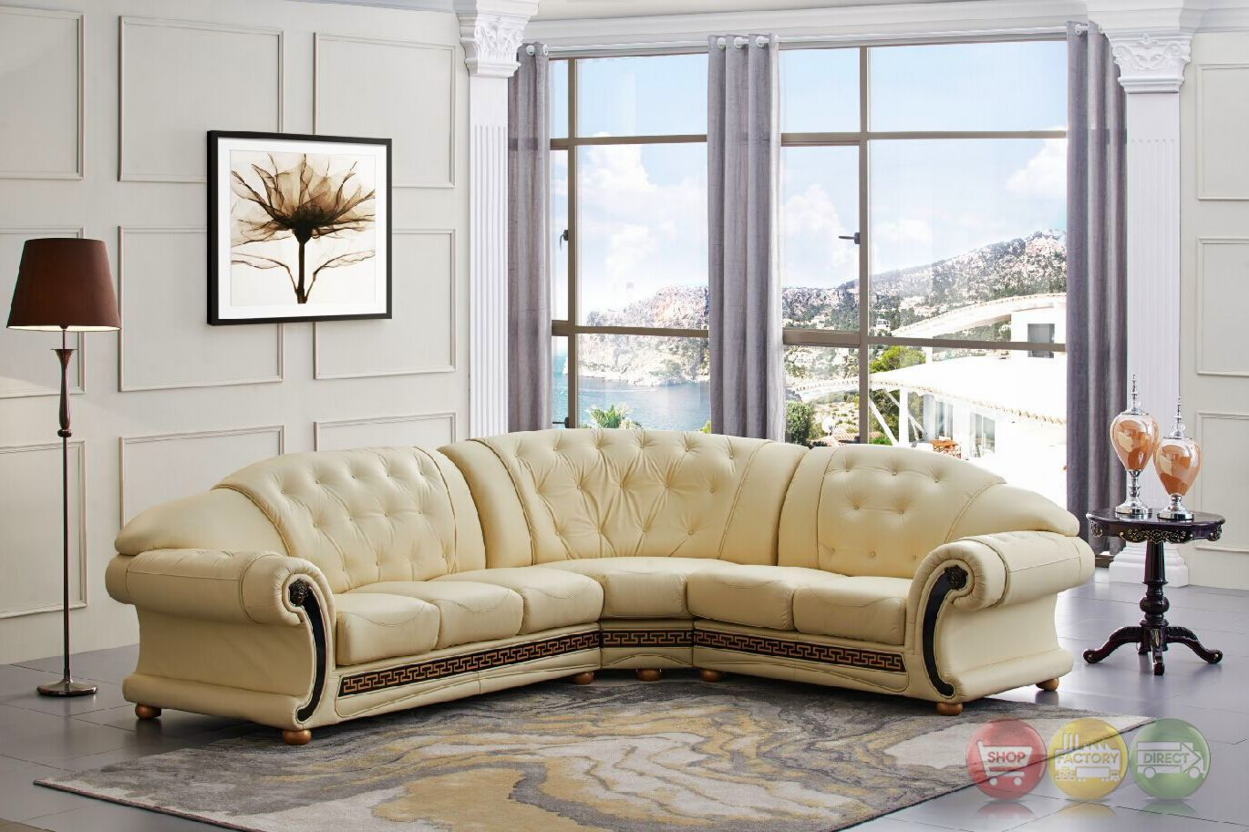 cream full leather chaise sectional sofa discount uk versace cleopatra italian top grain right