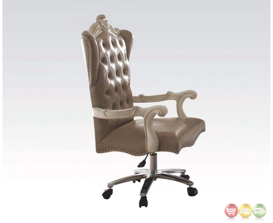 Versailles Bone White Leather Tufted Lift And Swivel