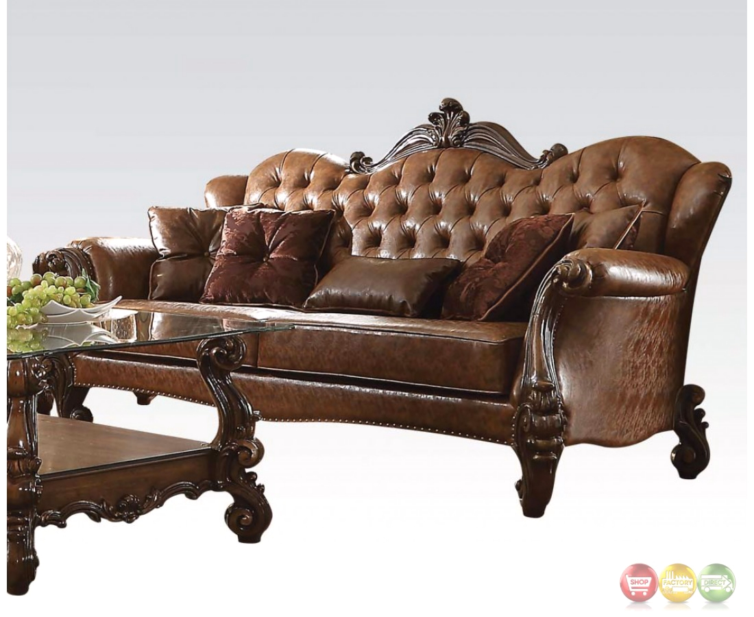 tufted brown leather sofa children s flip out with sleeping bag versailles formal button in light