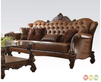 Versailles Formal Button Tufted Sofa In Light Brown Leather