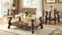 Versailles Traditional Cherry Oak Rectangular Glass Top ...