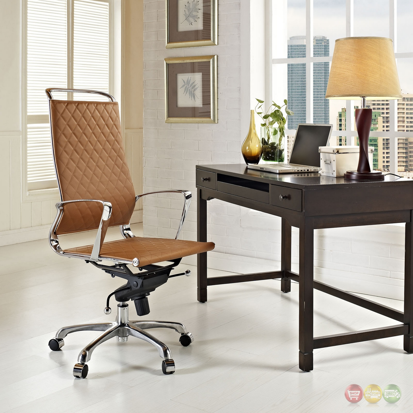 Tan Office Chair Vibe Modern High Back Leather Adjustable Office Chair W