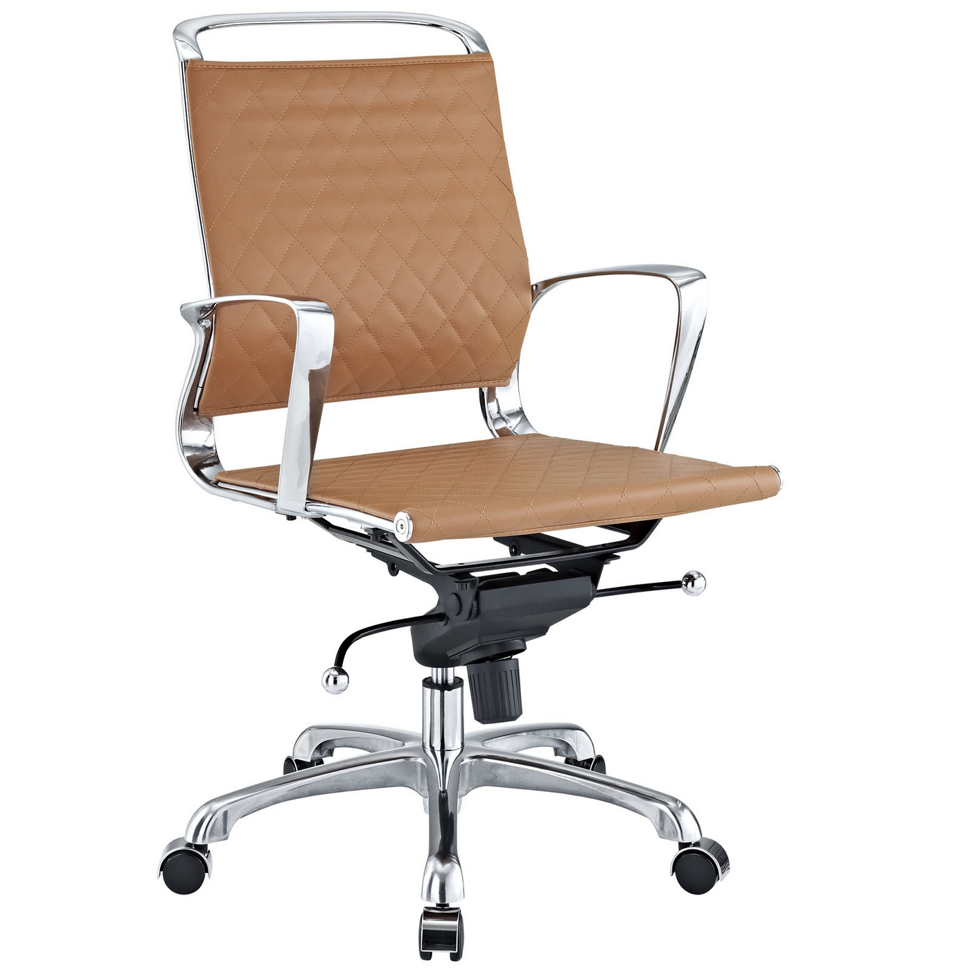 Leather Office Chairs Vibe Modern Mid Back Leather Office Chair With Chrome