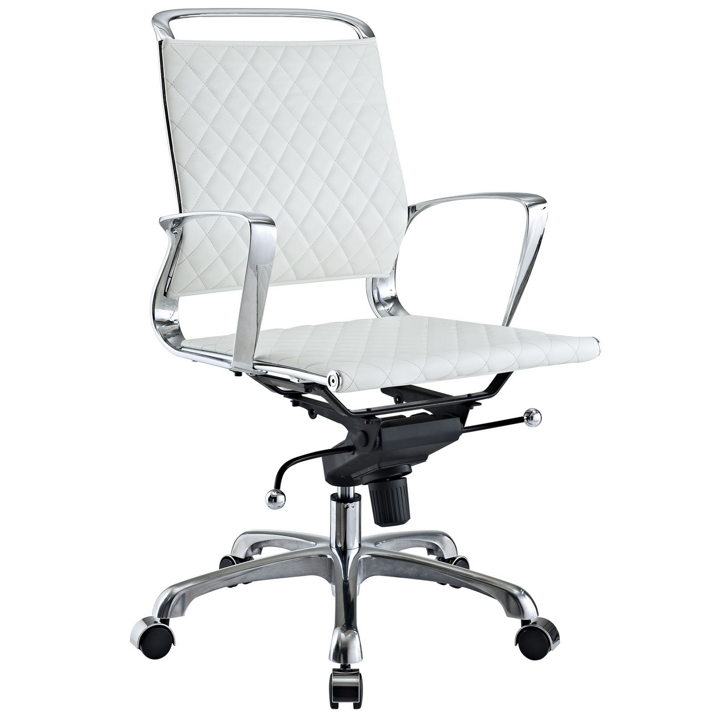 modern white office chairs amazon poang chair covers vibe mid back leather with chrome