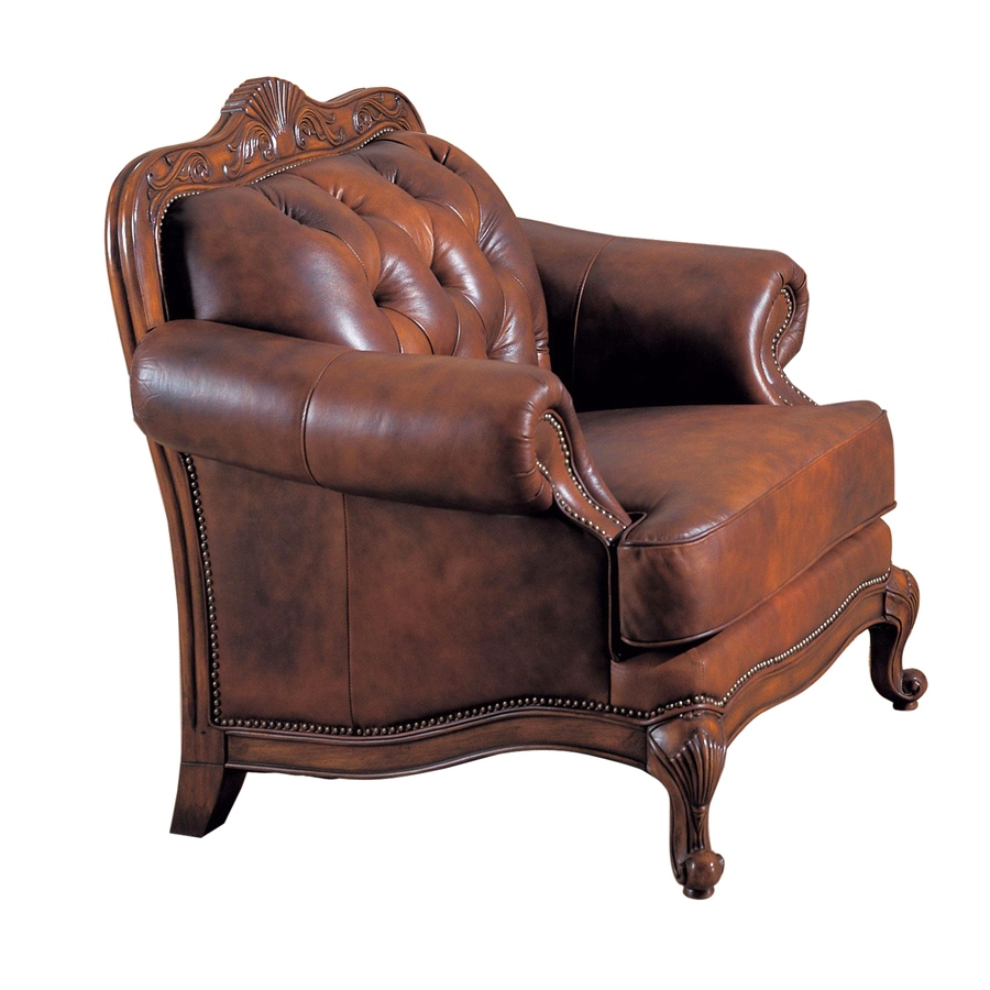 Victoria Traditional Button Tufted Genuine Leather Chair