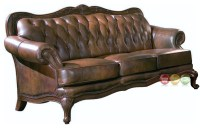 Victoria Brown Genuine Leather Button Tufted Sofa Carved ...