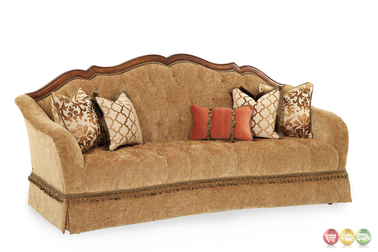 fabric sofa sets with wood trim sofas and recliners villa valencia traditional tufted 94