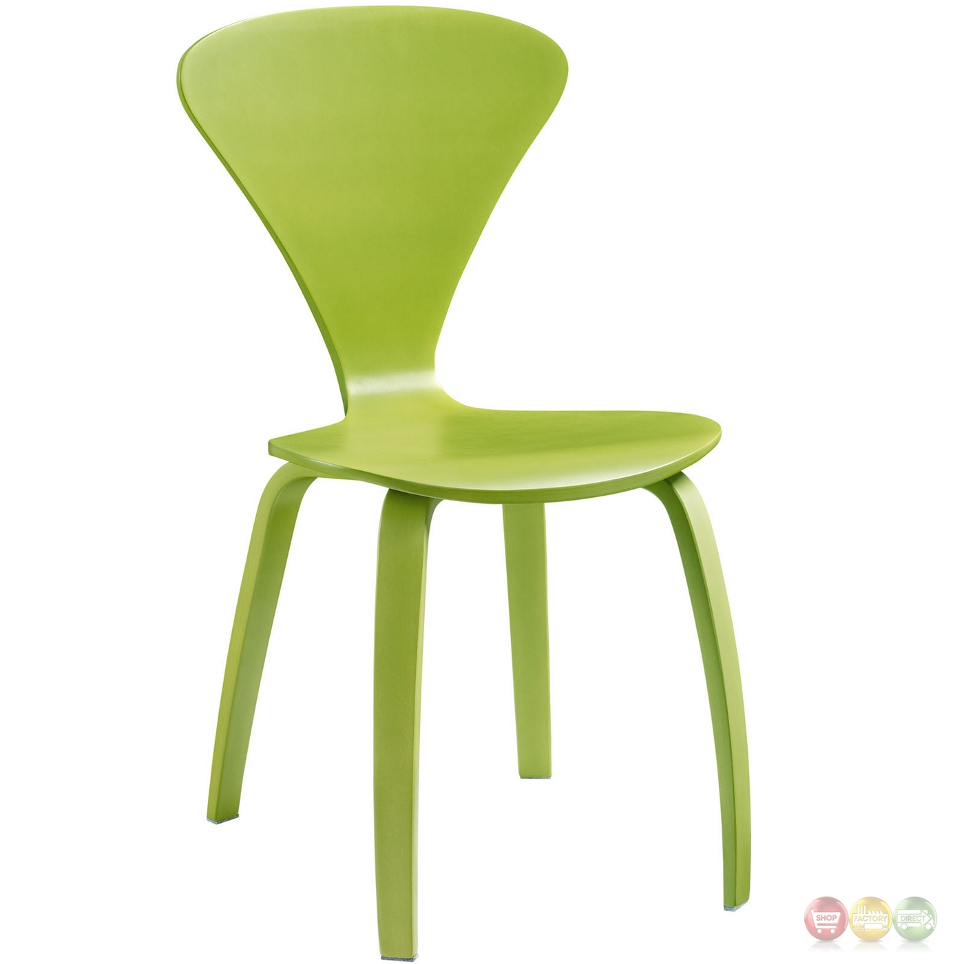 modern green dining chairs alfa revolving chair price vortex stackable wood with v shaped