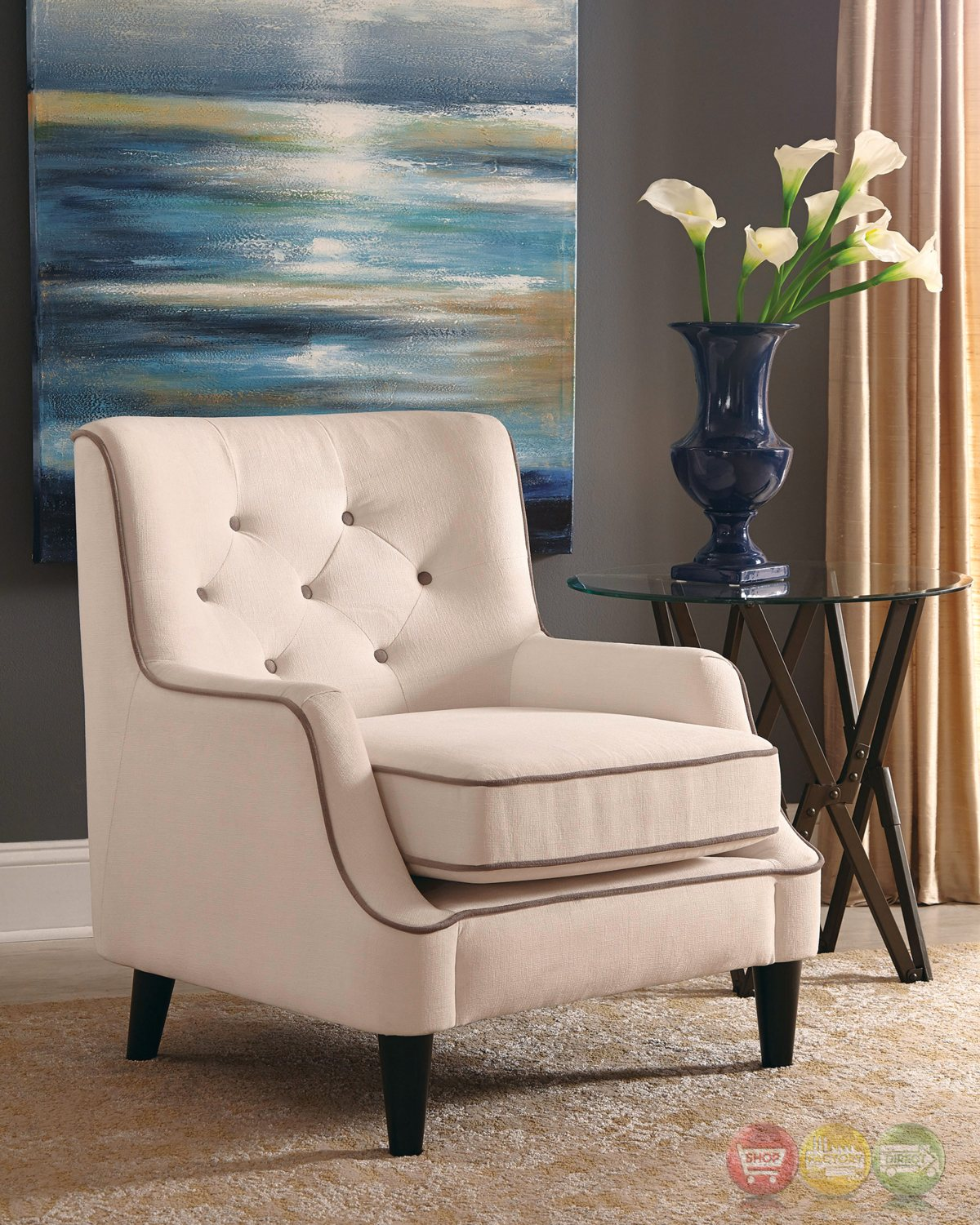 White Tufted Accent Chair White Button Tufted Accent Chair With Cocoa Welted Trim