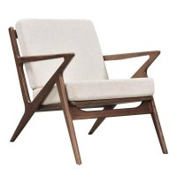 Zain Mid Century Modern Beige Fabric Chair With Wooden