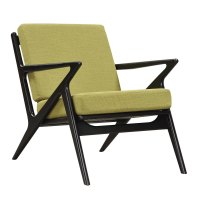 Zain Mid Century Modern Green Fabric Chair With Wooden