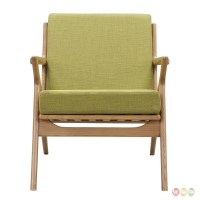 Zain Mid Century Modern Green Fabric Chair With Wooden ...