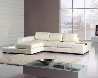 2pc White Leather Sectional Sofa Set 44LT35MINIWHL