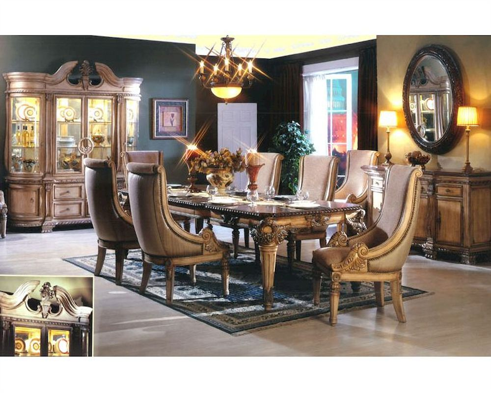 9pc Traditional Dining Set In Antique Beige Mcfrd300