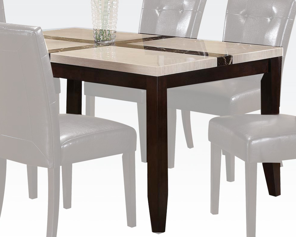 kitchen table sets with matching bar stools pantry shelves acme white faux marble top dining justin ac16550